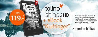 """Im Set nur bei Weltbild: tolino shine 2 HD inkl. dem eBook-Bestseller """"Kluftinger"""""""