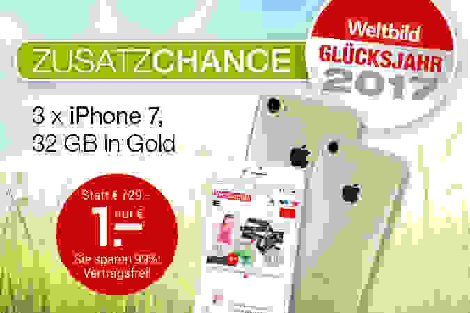 Weltbild-Preiszauber: 3 x iPhone 7 für je nur 1.- €!