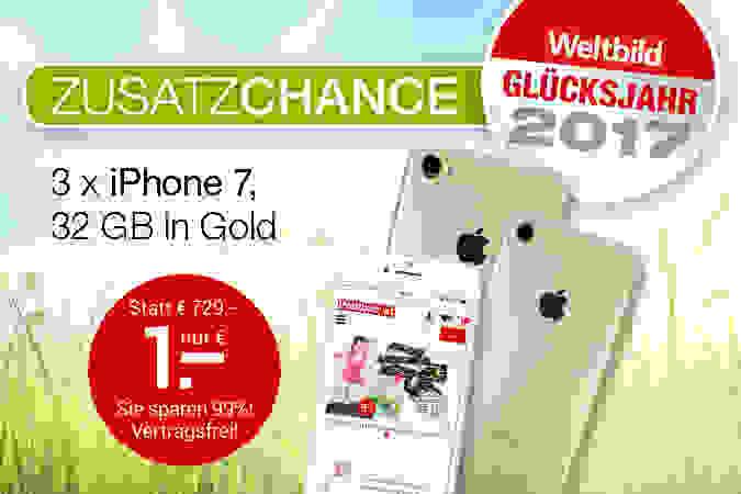 Weltbild-Preiszauber: 3 x iPhone 7 für je nur 1.-€!