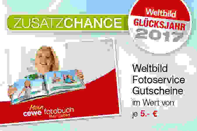 Zusatzchance: Weltbild Fotoservice Gutscheine im Wert von je 5.- €