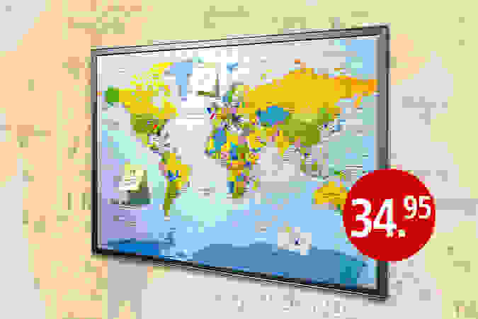 Weltkarte - Toll für Notizen, Fotos oder Urlaubssouvenirs.