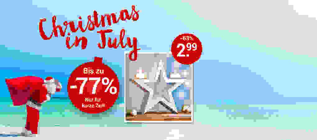 Christmas in July - Weihnachtsdeko & Co. bis zu -77% günstiger! Schnell zugreifen lohnt sich!