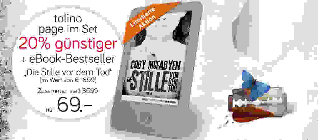 """tolino page eBook-Reader + eBook """"Die Stille vor dem Tod"""" von Cody Mcfadyen"""