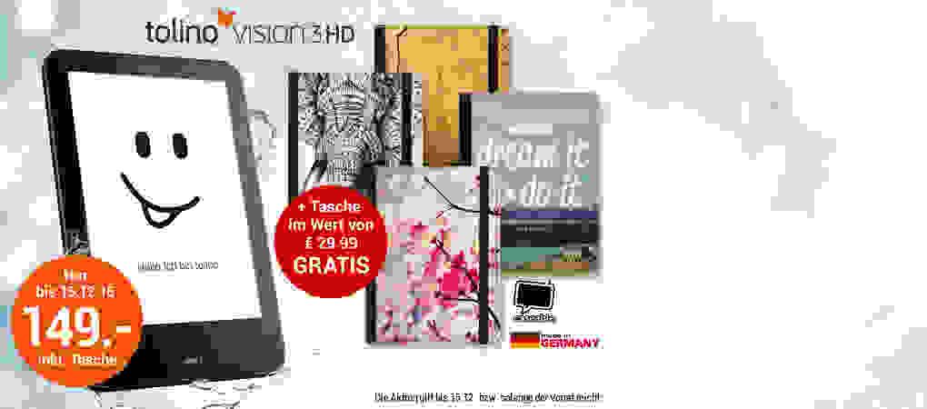 Limitierte Aktion: tolino vision 3 HD + GRATIS-Tasche