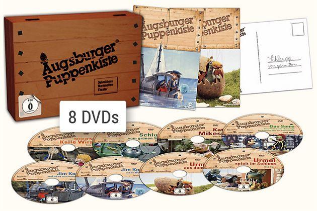 Augsburger Puppenkiste Holzkiste mit 8 DVDs