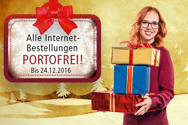 Ab sofort: Alle Internet-Bestellungen, die bis Samstag, 24.12.2016, 23.59 Uhr bei uns eingehen, liefern wir portofrei.