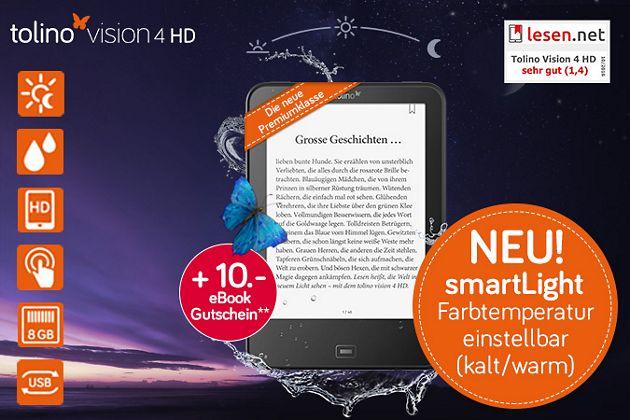 Entdecken Sie das Lesen neu - mit dem Komfort-eReader tolino vision 4 HD