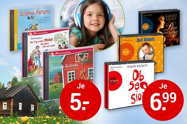 Jetzt zugreifen! Top-Hörbücher zu kleinen Preisen: für Kinder nur je 5 €, für Erwachsene nur je 6.99 €!
