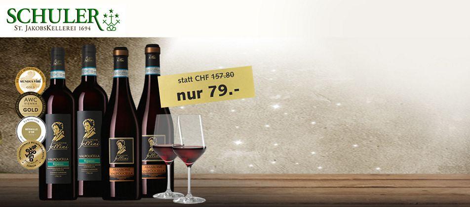 Wein-Angebot: Degustationskarton mit je 2 Flaschen + 2 Gläsern