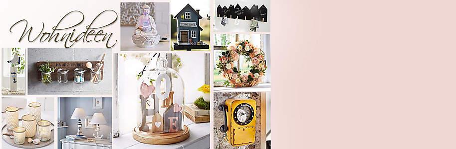 """#Inspirationen für einen individuellen Wohnstil  In der Themenwelt """"Wohnideen"""" finden Sie neue und frische Wohn-Akzente für Ihr Zuhause: Von modernen **Sitzmöbeln** zu stilvollen **Wandbildern**, von cleveren **Aufbewahrungshelfern** zu ausgesuchten **Küchen- und Badelementen**.    Lassen Sie sich inspirieren von unseren Wohnideen **für Küche, Bad, Wohnbereich** und finden Sie tolle **Deko-Ideen** passend zur Jahreszeit."""