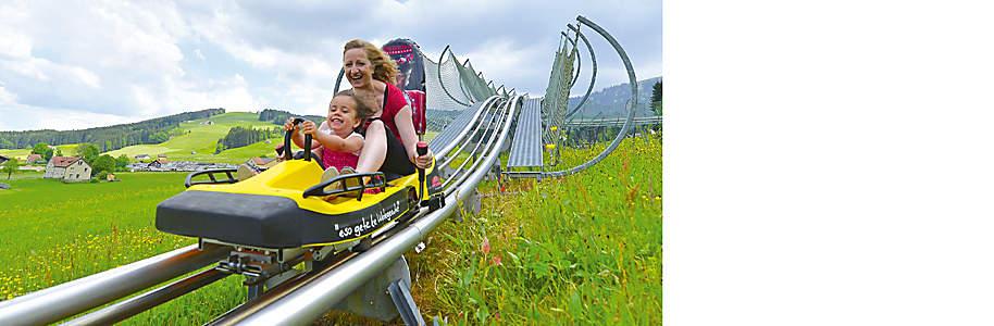 """###Kronenberg: Seilpark und Sommerrodelbahn Im Sommer kann die Kronbergbahn im Appenzeller Bergland gleich mit fünf tollen Angeboten aufwarten: Luftseilbahn auf den Gipfel des Kronbergs (1657 m ü. M.) sowie Bobahn, Seilpark, Spielplatz und Motorikpark bei der Talstation (884 m ü. M.). *    {{button href=""""/ausflugsziele/region/ostschweiz/kronenberg"""" text=""""Mehr erfahren""""}}"""