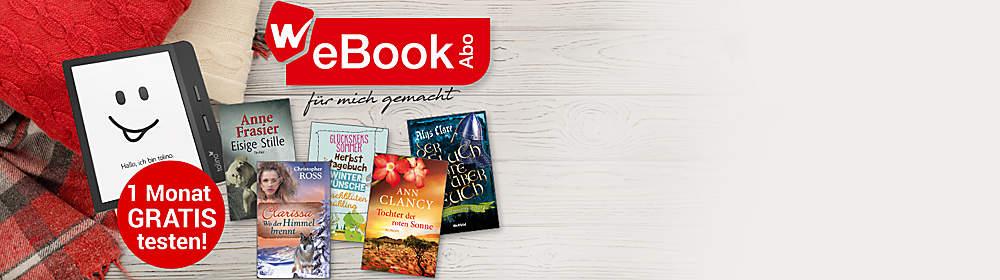 """WeBookAbo - für mich gemacht  **Jeden Monat 2 eBooks, die es nur bei Weltbild gibt: auswählen & loslesen.**   Solange Sie wünschen. Monatlich kündbar.  Jetzt GRATIS testen!*  **So geht's:**   1. eBook auswählen und """"Im WeBookAbo laden"""" klicken.   2. Anmelden und Bestellung abschließen - fertig!"""