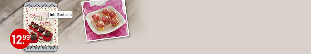 """###Diese und mehr Mini-Muffins finden Sie in diesem Buch:  Für zwischendurch, als verführerisches Geschenk aus der Küche, für liebe Gäste, die Familie oder den Kindergeburtstag - Mini-Muffins in allen Variationen sind heißbegehrt. Mit dem beiliegenden Blech können Sie sofort loslegen, um die köstlichen Minis an Mann, Frau und Kind zu bringen.  {{ button href=""""/artikel/buch/mini-muffins-set-m-24er-backform_20377937-1"""" text=""""Zum Buch""""}}"""