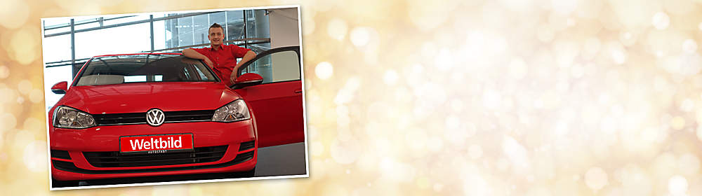 ##Der Gewinner des Weihnachts-Gewinnspiels  Beim großen Weltbild-Weihnachts-Gewinnspiel 2016 hatten die Teilnehmer neben wöchentlich wechselnden Preisen auch die Chance auf einen **VW Golf Trendline** im Wert von über 23.000.- € als Hauptgewinn.  Als glücklicher Gewinner des Hauptpreises wurde Josef W. ermittelt, der sich riesig über sein neues Auto gefreut hat.  **Wir gratulieren herzlich & wünschen eine gute und sichere Fahrt!**  P.S.: Sie wollen auch etwas gewinnen? Dann machen Sie jetzt beim Weltbild Glücksjahr mit und nutzen Sie Ihre Chance auf Preise im Gesamtwert von über 100.000.- €!