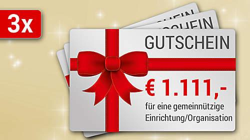 Preise: 3 x 1.111 Weltbild-Gutschein für eine gemeinnützige Organisation Ihrer Wahl!