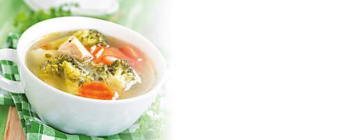 """###Brokkoli Suppe  Diese Suppe schmeckt auch als Variante mit Blumenkohl oder Romanesco köstlich. Die Suppe ist forciertes Abnehmen geeignet.   {{ button href=""""/news/downloads/151-Brokkoli-Suppe.pdf"""" text=""""Rezept gratis herunterladen""""}}"""