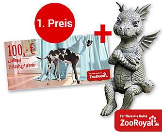 """1. Preis: Ein 100.- € ZooRoyal-Gutschein + Deko-Drache """"Lucky"""""""