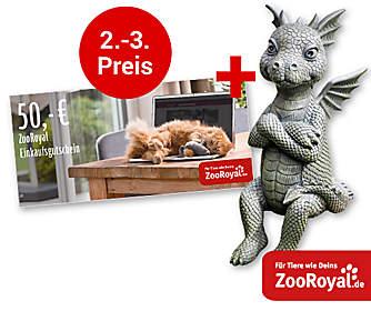"""2. - 3. Preis: Je ein 50.- € ZooRoyal-Gutschein + Deko-Drache """"Lucky"""""""