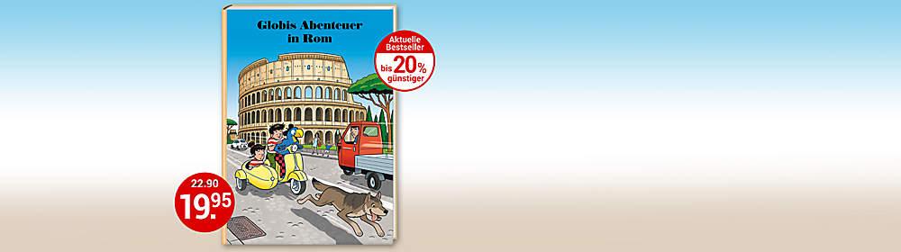 """#Globis Abenteuer in Rom  Ein Dieb stiehlt eine goldene Statue, die Mama Lupa! Er flüchtet auf dem Fahrrad. Die Hündin der Zwillinge Romy und Remo nimmt die Fährte auf. Währenddessen erwacht Globi in einem kleinen Albergo und will den Tag beginnen. Da wird er auf dem Trottoir von einem grossen Hund über den Haufen gerannt. Dahinter kommen die Zwillinge… So beginnt eine wilde, spektakuläre Verfolgungsjagd zu Fuss und per Vespa, bei der ganz nebenbei die Stadt Rom entdeckt werden kann. Ein spannendes, abwechslungsreiches und verblüffendes Abenteuer. Die Kinder gewinnen mit diesem fulminanten Krimi Einblicke in die schöne Stadt Rom, die italienische Sprache, die Welt der Gardisten und viel, viel mehr.   {{ button href=""""/artikel/buch/globis-abenteuer-in-rom_25506514-1?rd=1"""" text=""""Zum Buch""""}}"""