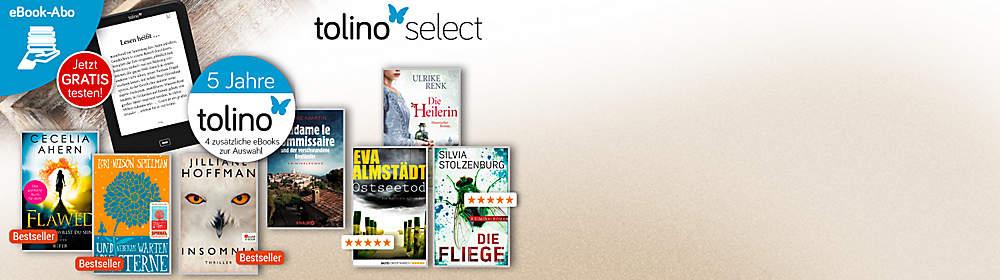 """Monatlich neu ausgewähltes Lesevergnügen  Jeden Monat stellen wir 40 eBooks für Sie zusammen. Mit tolino select wählen Sie monatlich 4 Wunschtitel aus und können direkt loslesen. Jetzt GRATIS testen!* {{ button href=""""/ebooks/tolino-select"""" text=""""Mehr Infos zu tolino select"""" }}   *danach 9,90 €/Monat, monatlich kündbar"""