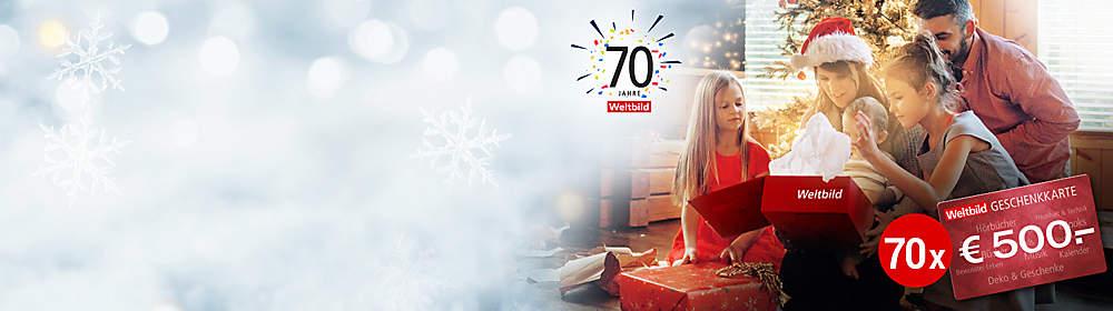 """##Wir sagen DANKE für 70 Jahre und 70 Familien erfüllen sich ihre Weihnachtswünsche!  Weltbild blickt zurück auf **70 Jahre Verlagsgeschichte**: Bereits 1948 wurde der Grundstein für unser Unternehmen gelegt! Deswegen sagen wir **Danke und verlosten 70 x 500.- € Geschenkkarten!**  **Allen Teilnehmern danken wir ganz herzlich für die zahlreichen Bilder und gratulieren den 70 Gewinnern! Wir freuen uns mit Ihnen und wünschen Ihnen weiterhin viele schöne Momente mit Ihren Liebsten!**  {{ button href=""""/themenwelten/gewinnspiel/70jahre/galerie"""" text=""""Zur Galerie"""" }}"""