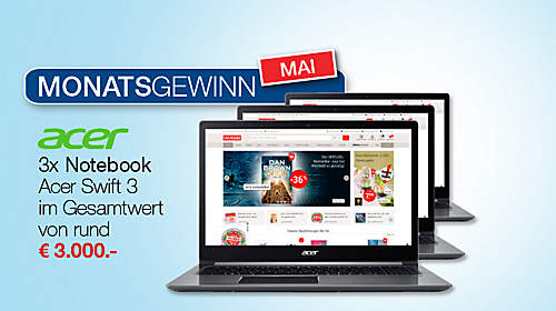 Monatsgewinn Mai: 3 x Notebook Acer Swift 3