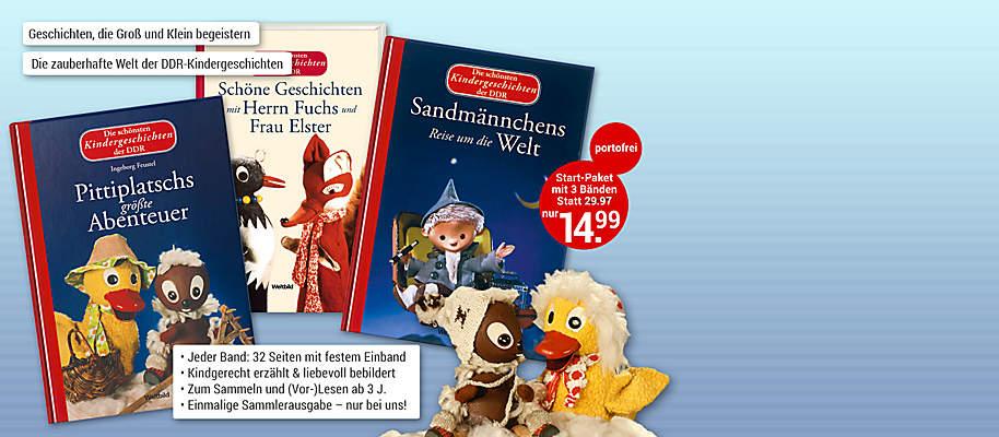"""#Die zauberhafte Welt der DDR-Kindergeschichten  Da leuchten Kinderaugen und Erwachsene erinnern sich an glückliche Kindertage. »Die schönsten Kindergeschichten der DDR« sind so fröhlich erzählt und liebevoll bebildert, dass alle begeistert sind …   **Starten Sie mit »Sandmännchens Reise um die Welt« -   einem der 3 Bände aus dem Startpaket** Diesmal begibt sich das Sandmännchen auf kleine und große Reisen rund um den Globus – und sogar auf den Mond. Liebevolle Reime erzählen von wunderbaren Abenteuern, die allen Kindern zauberhafte Träume und ruhigen Schlaf bringen.   **Hier erscheinen die beliebten Original-DDR-Bilderbücher in einheitlicher Ausstattung in einer exklusiven Edition.**  {{ button href=""""/weltbild-editionen/kinderwelt/die-schoensten-kindergeschichten-der-ddr/bestellen"""" text=""""Jetzt bestellen""""}}"""