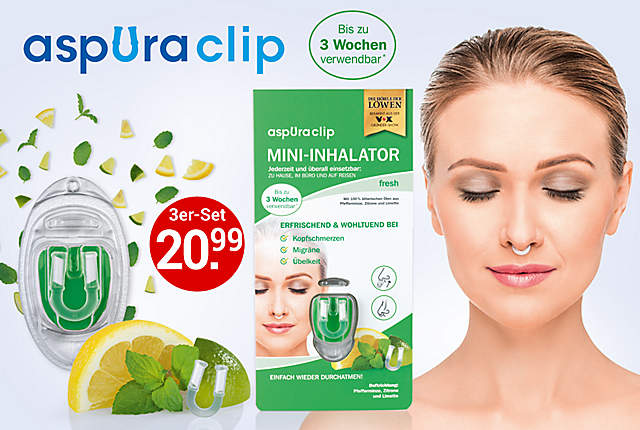 aspuraclip - Der Mini-Inhalator, 3er-Set