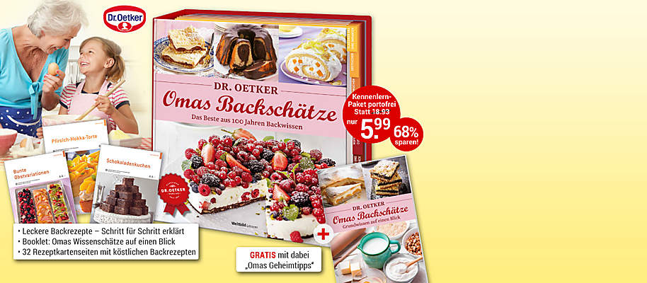 """#Rezepte, die Gold wert sind! Omas Backschätze Der Duft frischer Apfelschnitten, cremige Schokoladenküchlein, saftige Obsttoren – Großmutters Kuchen schmecken einfach am besten! Sie sind mit viel Liebe nach altbewährten Rezepten gebacken, denn schon Oma hat mit Dr. Oetker Backen gelernt! Die Edition """"Omas Backschätze"""" präsentiert Ihnen das Beste aus 100 Jahren Backwissen, angereichert mit vielen modernen Back-Varianten. Vom klassischen Käsekuchen über saftige Beerenschnitten bis hin zu herzhaften Köstlichkeiten ist alles dabei!    * **Alle Reztepte immer passend zur Saison** * **Extra Kapitel mit Omas Wissen und Tipps zur Warenkunde** * **Immer mit tollen Varianten zu bewährten Klassikern, z. B. Apfelstrudel im Glas**    **Verwöhnen Sie sich und Ihre Lieben – gleich ausprobieren und genießen!**  {{ button href=""""/weltbild-editionen/kochen-backen/backschaetze/bestellen"""" text=""""Jetzt bestellen""""}}"""