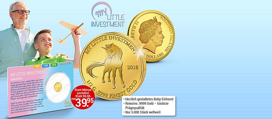 """#Goldmünzen - Mein erster Goldschatz **""""Wenn die Kinder klein sind, gib ihnen Wurzeln. Wenn sie groß sind, gib ihnen Flügel.""""**  Dies sagt ein altes Sprichwort aus China. """"Flügel geben"""" bedeutet für die Zukunft der Kinder und Enkel zu sorgen.  Spielzeug ist vergänglich. Gold bleibt! **Beginnen Sie jetzt, für die Zukunft Ihrer Kinder vorzusorgen: mit der Goldmünzen-Serie """"My Little Investment"""". ** Die wunderschönen Tierbaby-Motive dieser limitierten Münzen aus reinem Gold begeistern Kinder für das Thema Münzensammeln und Gold - und schaffen gleichzeitig bleibende Werte. Es handelt sich um die weltweit erste Goldmünzen-Serie, **die sich speziell an Eltern, Großeltern und Kinder richtet. ** Ob als Geschenk zu besonderen Anlässen oder als kleines Gold-Depot - mit der innovativen Investment-Serie aus reinem .9999 Gold haben Sie den Grundstein für finanzielle Unabhängigkeit gesetzt. **""""My Little Investment"""" - Münzen mit Wertsteigerungs-Potenzial!** Jede Münze wird aus reinem .9999 Gold in der höchsten Prägequalität """"Polierte Platte"""" geprägt und erfüllt höchste internationale Sammler-Standards. Achtung: Von jeder Münze werden weltweit nur 5.000 Exemplare geprägt. **Pro Haushalt ist maximal 1 Bestellung möglich Handeln Sie rasch, bevor Ihre Münze mit dem Baby Einhorn-Motiv vergriffen ist!  ** {{ button href=""""/weltbild-editionen/schoenes-wertvolles/littleinvestment/bestellen"""" text=""""Jetzt bestellen""""}}"""