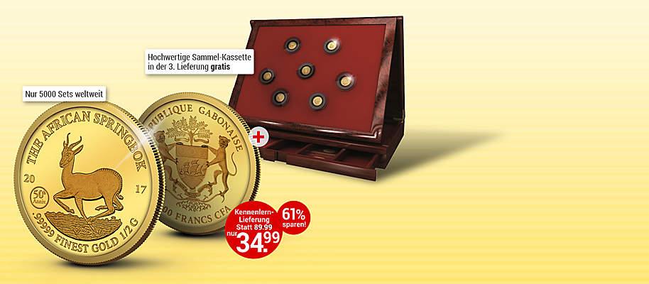 """# Goldmünzen-Klassiker in exklusiver Präsentation! 1967 begann die Erfolgsgeschichte des Springbock-Motivs auf der meistverkauften Gold-Anlagemünze der Welt, dem südafrikanischen Krügerrand. Diese exklusive Münze ehrt den Klassiker auf einzigartige Art und Weise: in reinstem .99999 Gold! **Die Jubiläumsmünze ist auch deshalb besonders, weil sie 2017 zum 50. Jahrestag des inzwischen zum Mythos aufgestiegenen Springbock-Motivs erschienen ist.** Mit einer Auflage von lediglich 25.000 Exemplaren ist der Jubiläums-Springbock 2017 jedoch streng limitiert. Greifen Sie darum gleich zu und holen Sie sich den Springbock in reinstem Gold in Ihre Sammlung - mehrwertsteuer- und versandkostenfrei! Eine wunderbare Anlage-Variante, die Sie sich nicht entgehen lassen sollten! Im weiteren Verlauf Ihrer Sammlung erhalten Sie die edle Aufbewahrungskassette gratis dazu.  1.000 Francs CFA   Gabun   2017,  0,5g  .99999 Gold, ø = 11 mm, Jubiläumsstempel: 50th Anniversary (50. Jahrestag)  {{ button href=""""/weltbild-editionen/schoenes-wertvolles/goldmuenzen-klassiker/bestellen"""" text=""""Jetzt bestellen""""}}"""