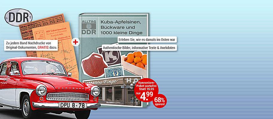 """#Lassen Sie den Alltag in der DDR wieder lebendig werden Die exklusive Edition """"Alltag DDR"""" erzählt in lebhaften Rückblenden, wie es damals im Osten war. Ob Putzfrau oder Kombinatsdirektor, Punker oder FDJler - mit ihren spannenden  Zeitzeugenberichten lassen sie die 40-jährige Geschichte der DDR Revue passieren.   **Starten Sie mit """"Kuba-Apfelsinen, Bückware und 1000 kleine Dinge""""** """"König Kunde kauft im Konsum"""" – so sah die Vision aus. Wir blicken zurück: strohige Apfelsinen, Import-Jeans und """"Spee eingetroffen"""" – irgendwie gab es alles, irgendwas fehlte trotzdem immer. Erleben Sie, wie es damals im Osten war. Interessante Themenwelten mit authentischen Bildern, informativen Texten und Anekdoten.  **Zusätzlich zu jedem Band: Nachdrucke von Original-Dokumenten wie Lebensmittelkarten, Kaufquittungen, Urkunden ...**  {{ button href=""""/weltbild-editionen/romane-dokumentationen/alltag-ddr/bestellen"""" text=""""Jetzt bestellen""""}}"""