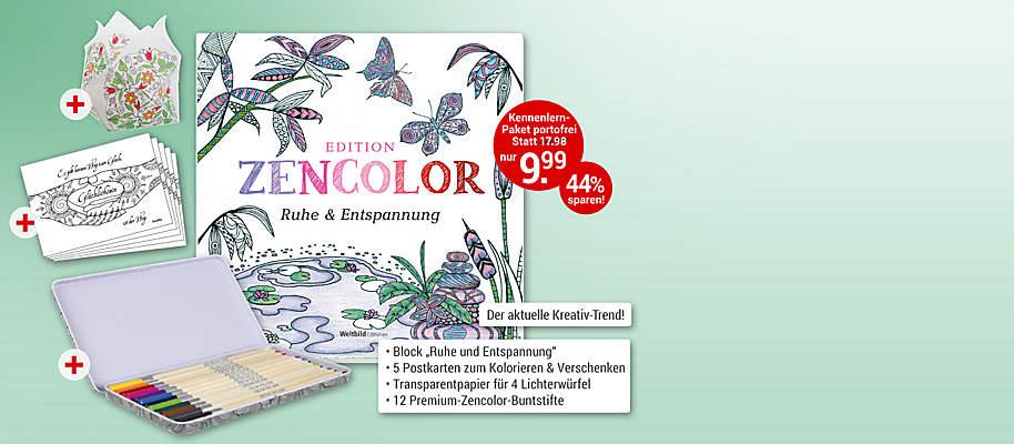 """#Edition Zencolor - ausmalen & entspannen Zarte Blüten und Schmetterlinge, filigrane Ornamente, herrliche Landschaften – mit den wunderbaren Motiven der Edition """"Zencolor"""" finden Sie Ruhe & Entspannung und schaffen dabei stimmungsvolle Bilder!        **Starten Sie mit """"Ruhe & Entspannung""""**    ##Ihr großes Kennenlern-Paket enthält: * Themen-Block """"Ruhe & Entspannung"""" im Format 21 x 21 cm mit 30 zauberhaften Motiven auf hochwertigem Karton   * 5 Postkarten   * 4 Bögen Transparentpapier für 4 Lichterwürfel   * 12 Premium Zencolor Buntstifte in hochwertiger Blechdose   * **Gesamtwert: € 17.98 für Sie nur € 9.99 **      Egal, wie hektisch und Nerven aufreibend Ihr Alltag auch sein mag: Finden Sie Ihren Weg zu Ausgeglichenheit und Kraft mit Ihrer hochwertigen Ausmal-Edition Zencolor.          {{ button href=""""/weltbild-editionen/hobby-praxiswissen/edition-zencolor/bestellen"""" text=""""Jetzt bestellen""""}}"""