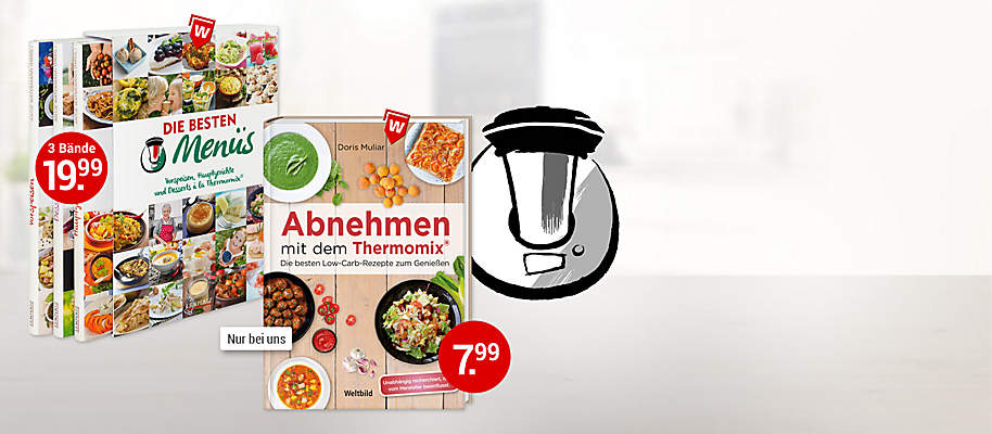 """#Entspannt kochen mit dem Thermomix#   Alle lieben den Thermomix – aus gutem Grund: Frisch, schonend und **entspannt zu kochen** ist mit der vielseitigen Küchenmaschine so **einfach wie noch nie**. Dabei sorgen leckere Kochrezepte mit Gelinggarantie für **maximalen Genuss bei minimalem Aufwand**.   Ob exklusives **3-gängiges Menü**, schmackhafte **Low-Carb-Rezepte** zum Abnehmen oder köstliche **Leibspeisen**: Bei uns finden Sie bestimmt Ihre **Lieblings-Kochbücher für den Thermomix**.  Ganz besonders empfehlen möchten wir Ihnen **""""Die besten Menüs""""** - 3 Bände mit den besten Thermomix-Rezepten **im praktischen Schuber**. Weltbild und das mixtipp-Team haben exklusiv für Sie **die besten Gerichte rund um den Thermomix** zusammengestellt:  * **Vorspeisen**  – bunt, kreativ und multikulturell  * **Hauptgerichte** – von vegetarischen Highlights bis zu Deftigem aus dem Ofen * **Desserts** – verführerische Kreationen, mal luftig-leicht, mal traumhaft-süß      {{ button href=""""/artikel/buch/die-besten-menues-vorspeisen-hauptgerichte-und-desserts-a-la_21846344-1"""" text=""""Zum Beste Menüs-Buch""""}}"""