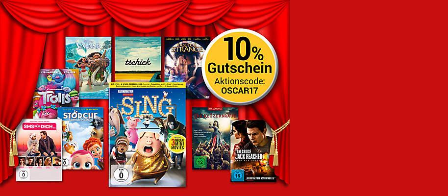 """#Oscarreif: 10% Gutschein auf alle DVD und Blu-ray's!  Anlässlich der diesjährigen Oscar-Verleihung schenken wir Ihnen einen **10% Gutschein** auf **alle DVD und Blu-ray's!** Nutzen Sie die Chance und holen Sie sich ein Stück Hollywood in Ihr Wohnzimmer!  Sichern Sie sich jetzt Ihren Film-Favoriten auf **DVD oder Blu-ray** und Sie erhalten **10% Rabatt** mit unserem Gutschein!  **Die Aktion gilt nur bis 26.02. - schnell sein lohnt sich!**  ###Ihr Gutscheincode: OSCAR17###   **So einfach lösen Sie den Gutschein ein:** 1. Legen Sie einen oder mehrere Filme in den Warenkorb. 2. Geben Sie den Gutscheincode im Feld """"Aktionsgutschein einlösen"""" im Warenkorb ein und schliessen Sie Ihre Bestellung ab. Fertig!"""