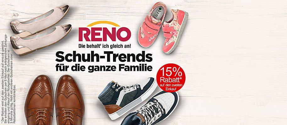 """#Reno – Die behalt´ ich gleich an!  ###Seit nun mehr als 30 Jahren bietet Reno eine Vielfalt an Top-Marken sowie ein breites Sortiment an modischen Schuhen für die ganze Familie an. Passende Accessoires wie Handtaschen runden das Angebot ab – das Ganze zu attraktiven Preisen und in geprüfter Qualität:  ###Dafür ist Reno bekannt.   {{ button href=""""https://www.reno.de/?utm_source=Weltbild&utm_campaign=Koop_Weltbild_2017_02&utm_medium=referral"""" text=""""Jetzt bei Reno entdecken!""""}}"""