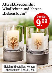 Windlichter und Kerzen Lebensbaum