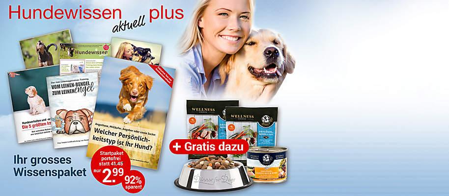 """#Hundewissen *aktuell* plus  Der Ratgeber gibt zuverlässige Orientierung im Dschungel der 1.000 Meinungen. """"**Hundewissen aktuell plus**"""" liefert Antworten auf alle Fragen zu Erziehung, Pflege, Ernährung und Haltung. Von der richtigen Futtermenge bis zum Erkennen von Krankheiten und zur Ersten Hilfe finden Sie alles, was wichtig ist.  **Starten Sie mit dem Wissens-Paket (6-teilig) mit Hunde-Futternapf und Hundefutter GRATIS**    ##Ihr großes Start-Paket enthält: * Startausgabe """"Hundewissen aktuell"""" mit den besten Themen in einem Heft * 5 exklusive Sonderhefte, u. a. """"Die 5 größten Irrtümer im Hundeverhalten und bei der Hunde-Erziehung"""" (24 Seiten), """"So stoppen Sie das Dauerbellen Ihres Hundes"""" (24 Seiten), """"Vom Leinen-Bengel zum Leinen-Engel"""" (32 Seiten) * **Plus** Edelstahl-Futternapf von """"Dinner for dogs""""  * **Plus** 1 x Nassfutter und 2 x Trockenfutter von """"Dinner for dogs""""   **Gesamtwert: € 41.45 für Sie nur € 2.99 portofrei**        {{ button href=""""/weltbild-editionen/hobby-praxiswissen/hundewissen/bestellen"""" text=""""Jetzt bestellen""""}}"""
