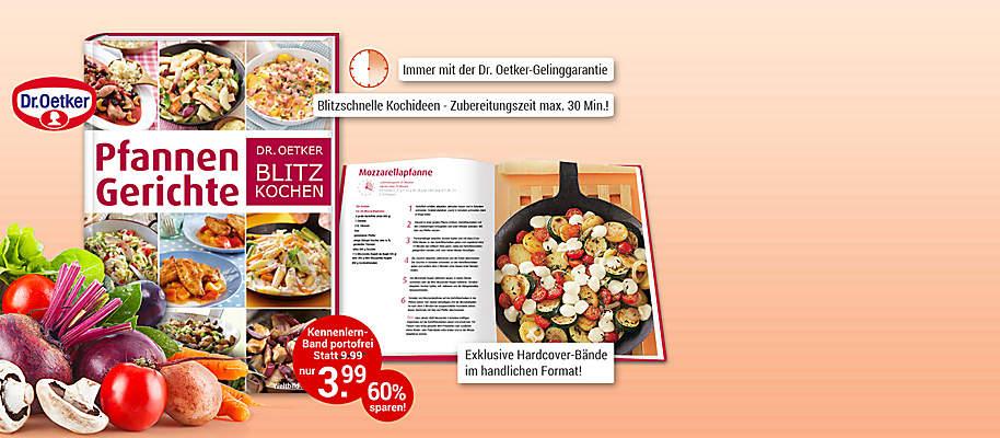 """#Dr. Oetker Blitz-Kochen: Rezepte mit Geling-Garantie!  Sie möchten täglich lecker und gesund kochen? Aber dazu fehlt Ihnen die Zeit? Dann ist die Edition """"Dr. Oetker Blitz-Kochen"""" genau richtig für Sie: tolle und abwechslungsreiche Rezepte, bei denen die **Zubereitungszeit maximal 30 Minuten** beträgt! Von der Blitz-Pasta über leichte Salate, schnelle Aufläufe bis hin zu Partyrezepten und Desserts – Dank der **Dr. Oetker-Gelinggarantie** geht alles einfach und vor allem blitzschnell.  **Starten Sie mit """"Pfannengerichte""""**    Eine Pfanne, ein Rezept und wenige Zutaten – mehr braucht man nicht, um im Handumdrehen ein leckeres Pfannengericht auf den Tisch zu bringen. Die Grundlage dafür bilden Kartoffeln, Gemüse oder Nudeln. Fleisch, Fisch und Pilze runden sie ab. Kräuter, Gewürze, Nüsse und Saucen geben einen asiatischen, mediterranen oder klassischen Touch: So ist für jeden Geschmack und Anlass etwas dabei.  **Sie werden begeistert sein - gleich portofrei anfordern!**  {{ button href=""""/weltbild-editionen/kochen-backen/dr-oetker-blitz-kochen/bestellen"""" text=""""Jetzt bestellen""""}} {{ button href=""""https://www.weltbild.de/news/downloads/Dr-Oetker-Blitzkochen_Pfannengerichte.pdf"""" text=""""Zur Leseprobe"""" }}"""