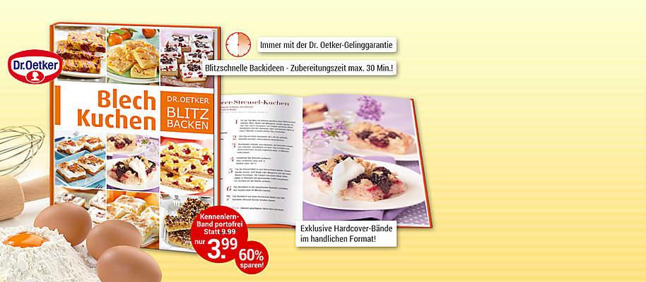 """#Dr. Oetker Blitz-Backen: superschnelle und einfache Backideen!  Sie möchten eben noch schnell einen Kuchen zaubern, zum Beispiel für die Oster-Feiertage? Überzeugen Sie sich selbst von einer einzigartigen Exklusiv-Edition, mit der Sie garantiert im Handumdrehen die köstlichsten Kuchen backen. Mit Rezepten, bei denen die Zubereitungszeit maximal 30 Minuten beträgt!   Ob Käse- oder Obstkuchen, feine Torten, Streuselkuchen, Muffins, Kleingebäck oder pikante Leckereien – mit der Dr. Oetker-Geling-Garantie klappt alles schnell und einfach.    **Starten Sie mit traumhaften Blechkuchen**  Verwöhnen Sie Ihre Familie und Gäste so richtig mit leckeren Kuchen vom Blech! Von Klassikern wie Butterkuchen über fruchtig belegten Brombeer-Streusel-Kuchen, Schoko-Nougat-Schnitten, Aprikose-Mandel-Brownies oder dem klassischen Apfelkuchen vom Blech – Sie werden staunen, wie einfach das ist!    **Überzeugen Sie sich am besten selbst!**   {{ button href=""""/weltbild-editionen/kochen-backen/dr-oetker-blitz-backen/bestellen"""" text=""""Jetzt bestellen""""}} {{ button href=""""https://www.weltbild.de/news/downloads/Dr-Oetker-Blitzbacken_Blechkuchen.pdf"""" text=""""Zur Leseprobe"""" }}"""