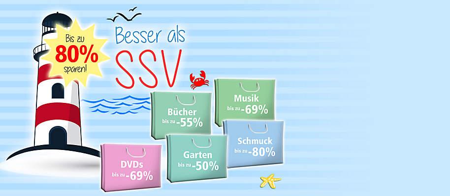 #Besser als SSV! ## Großes Sale-Special bei Weltbild!##  Ausgewählte Artikel **bis zu 80%** reduziert!   Schnell sein lohnt sich - nur so lange der Vorrat reicht!  * **[Schmuck bis zu 80% günstiger](/sale/deko-geschenke/schmuck-accessoires)** * **[Musik-Preishits bis zu 69% reduziert](/musik/musik-preishits)** * **[Schönes für Zuhause bis zu 67% günstiger](/sale/deko-geschenke/trend-deko)** * **[Praktisches für Küche & Haushalt bis zu -62%](/sale/haushalt-technik/kueche-haushalt)** * **[Accessoires bis zu 48% reduziert](/sale/deko-geschenke/schmuck-accessoires)** * **[Bücher-Schnäppchen bis zu -55%](/sale/buchsparwoche)** * **[Fit & gesund bis zu 53% günstiger](/sale/haushalt-technik/fitness-wellness)** * **[Spielwaren bis zu 50% reduziert](/sale/kinderwelt)**  * **[DVDs & Blu-rays mit bis zu 69% Preis-Vorteil](/sale/dvd)** * **[Garten-Schnäppchen bis zu -50%](/sale/haushalt-technik/heimwerken-garten)**     **Jetzt losstöbern, entdecken und Schnäppchen sichern!**
