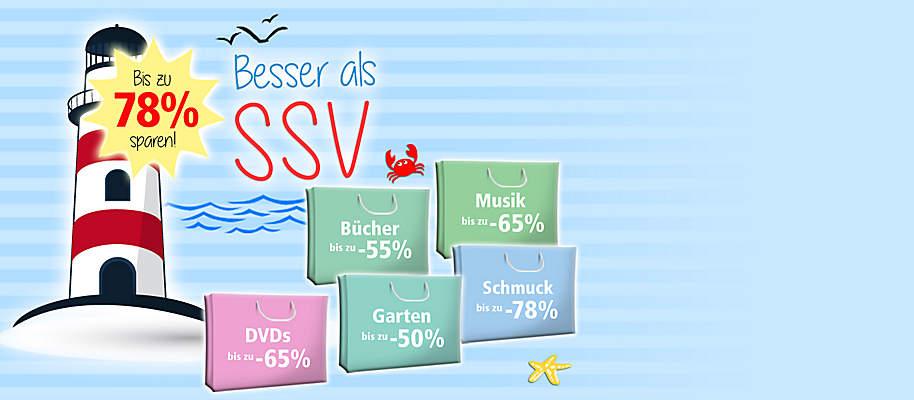 #Besser als SSV! ## Großes Sale-Special bei Weltbild!##  Ausgewählte Artikel **bis zu 78%** reduziert!   Schnell sein lohnt sich - nur so lange der Vorrat reicht!  * **[Schmuck bis zu 78% günstiger](/sale/deko-geschenke/schmuck-accessoires)** * **[Musik-Preishits bis zu 65% reduziert](/musik/musik-preishits)** * **[Schönes für Zuhause bis zu 62% günstiger](/sale/deko-geschenke/trend-deko)** * **[Praktisches für Küche & Haushalt bis zu -67%](/sale/haushalt-technik/kueche-haushalt)** * **[Accessoires bis zu 78% reduziert](/sale/deko-geschenke/schmuck-accessoires)** * **[Bücher-Schnäppchen bis zu -55%](/sale/buchsparwoche)** * **[Fit & gesund bis zu 53% günstiger](/sale/haushalt-technik/fitness-wellness)** * **[Spielwaren bis zu 67% reduziert](/sale/kinderwelt)**  * **[DVDs & Blu-rays mit bis zu 65% Preis-Vorteil](/sale/dvd)** * **[Garten-Schnäppchen bis zu -67%](/sale/haushalt-technik/heimwerken-garten)**      **Jetzt losstöbern, entdecken und Schnäppchen sichern!**