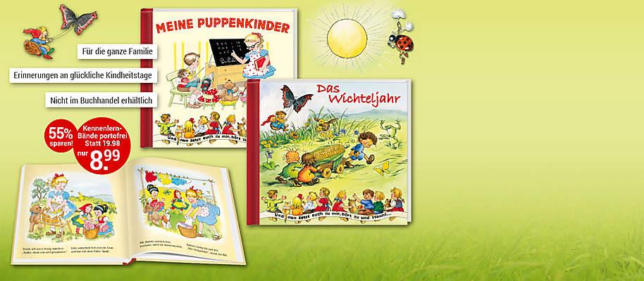 """#Zauberhaft illustrierte """"Nostalgische Bilderbuch-Klassiker""""  Lassen Sie Ihre schönsten Erinnerungen aus glücklichen Kindertagen wieder lebendig werden und teilen Sie mit Ihren Kindern oder Enkelkindern ein Stück der schönen, heilen Welt von damals.  **Starten Sie mit den beiden Bänden """"Das Wichteljahr"""" und """"Meine Puppenkinder""""** Liebevoll illustriert und kindergerecht geschrieben sind die Bilderbücher hervorragend geeignet zum Vorlesen und zum gemeinsamen Anschauen: """"Und nun setzt euch zu mir, hört zu und staunt …"""" **Hier erscheinen die Bilderbuch-Klassiker in hochwertiger Ausstattung in einer exklusiven Edition.**  {{ button href=""""/weltbild-editionen/kinderwelt/nostalgische-bilderbuch-klassiker/bestellen"""" text=""""Jetzt bestellen""""}}"""
