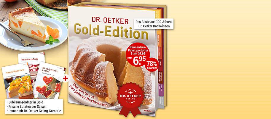 """#Rezepte, die Gold wert sind! – Dr. Oetker Gold-Edition In dieser exklusiven Edition haben wir die besten Backrezepte aus **über 100 Jahren Dr. Oetker-Backerfahrung** für Sie zusammengestellt: köstliche Rezepte, die allesamt in der berühmten Dr. Oetker Versuchsküche getestet wurden und daher die legendäre **Dr. Oetker Geling-Garantie** besitzen. Von klassischen Kuchen über raffinierte Modetorten, Muffins, Blechkuchen und herzhafte Leckereien bis hin zu köstlichem Kleingebäck. Alle Rezepte **immer passend zur Saison**. **Backen, verwöhnen, geniessen!**  * **Extra Kapitel mit nützlichen Tipps & Tricks zu Warenkunde und Rezepten** * **Immer mit tollen Varianten zu bewährten Klassikern, z. B. Apfelstrudel im Glas**  **Verwöhnen Sie sich und Ihre Lieben – gleich ausprobieren und geniessen!**  {{ button href=""""/weltbild-editionen/kochen-backen/Gold-Edition/bestsellen"""" text=""""Jetzt bestellen""""}}"""