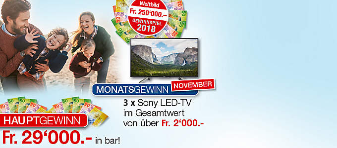 Weltbild Gewinnspiel 2018: Preise im Gesamtwert von über 250.000.- €!