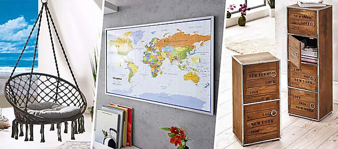 Weltkarten, Hängesessel und Schränke