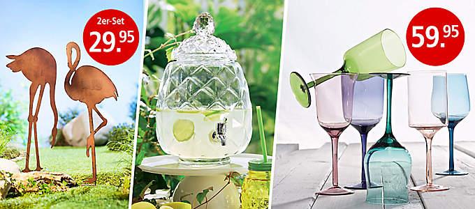 Gläser, Leuchten und Deko für den Garten