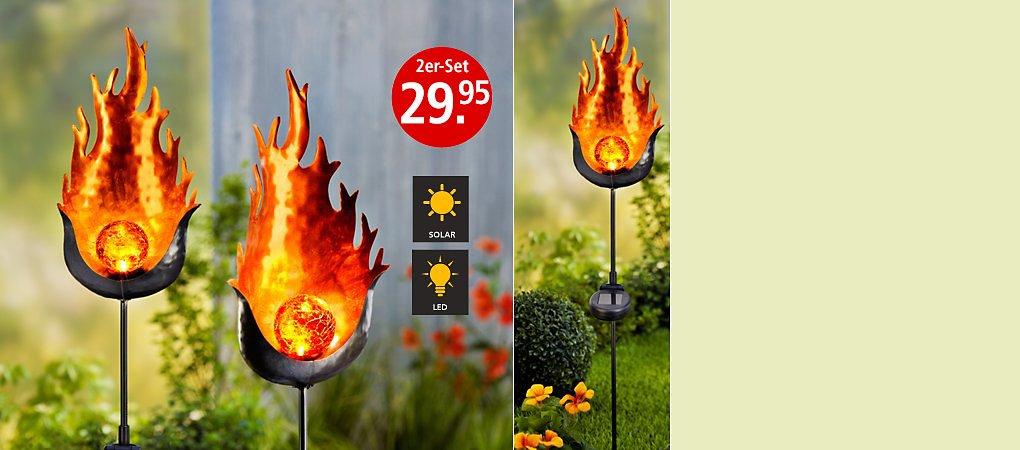 """Feuriges Abendlicht - Solargartenstecker """"Fire"""" im 2er-Set"""