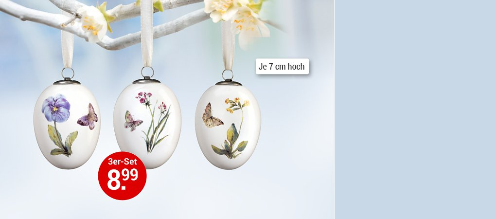 """Osterei-Dekohänger """"Blumen"""", 3er-Set"""