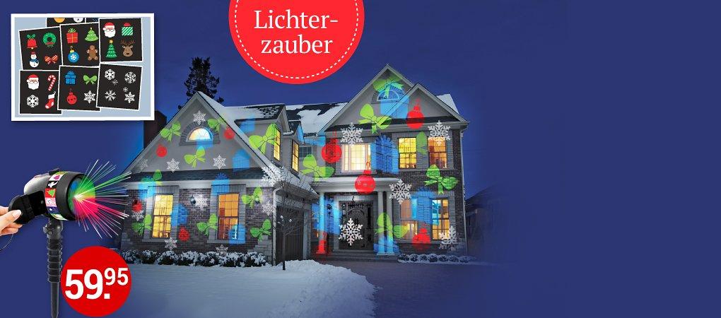 Fassadenbeleuchtung mit 12 farbenfrohen LED-Motivfolien